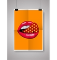Disco lips poster on grey wall background vector image