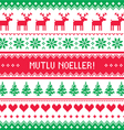 Merry Christmas in Turkish - Mutlu Noeller pattern vector image