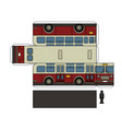 paper model of a vintage city bus vector image