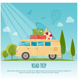 road trip surf camp concept banner flat style vector image