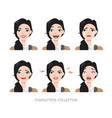 set of emotions for business woman vector image