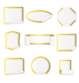 Set of paper stickers white with gold border vector image
