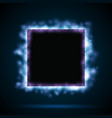Square border with blue lights vector image
