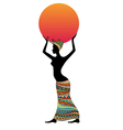 Woman With Sun In Hands vector image