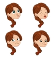 set of cute little girl faces vector image