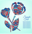 doodle flower poppy zentangl drawing holiday card vector image