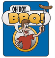 Oh Boy Barbecue design vector image