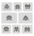 monochrome icons with pixel alien monsters vector image