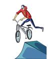 Teenager doing bike tricks on ramps vector image
