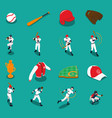 baseball isometric icons set vector image