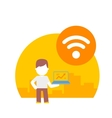 man uses wi fi on his laptop vector image