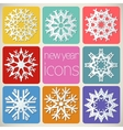 New Year Icons Set with snowflakes vector image