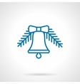 Simple linear blue Xmas bell icon vector image