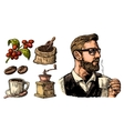 Hipster barista holding a cup of hot coffee Sack vector image