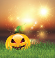 halloween pumpkin in grass 0109 vector image
