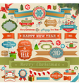 christmas ribbons and objects vector image vector image