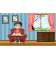 A boy writing inside the house vector image