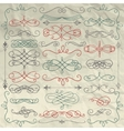 Vintage Hand Drawn Swirls Collection on Crumpled vector image