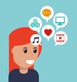 cartoon girl social media apps vector image