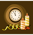 clock and candles vector image