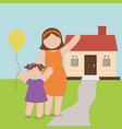 mom and daughter celebration house vector image