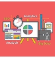 Stand with Charts and Parameters Big Data Seo vector image