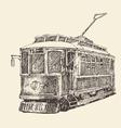 vintage tram engraved hand drawn vector image