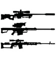 Three sniper rifles vector image