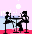 girls in the cafe vector image vector image