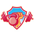 Hand Lifting Barbell Kettlebell Crest vector image
