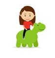 girl sitting on green dinosaur toy vector image