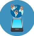 Smartphone travel destinations points locations vector image
