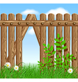 Wooden fence on green grass vector image