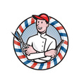 Barber With Scissors and Comb Cartoon vector image