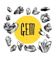 black and white set with crystals vector image
