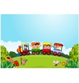 Cartoon happy kids on a colorful train vector image