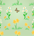 Seamless texture spring meadow narcissus and daisy vector image