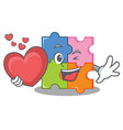 with heart puzzle mascot cartoon style vector image