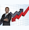 businessman abstract arrow graph background vector image vector image