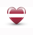 Heart-shaped icon with national flag of Latvia vector image