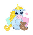 cartoon light blue lovely unicorn sitting with a vector image