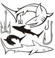 sharks and hooks vector image vector image