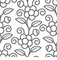 Seamless Floral White Black Background vector image