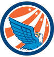 American Eagle Flying Looking Up Retro vector image
