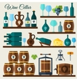 Wine cellar icons vector image