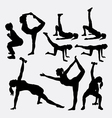 Girl fitness silhouettes vector image