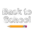 Background with text back to school and pencil vector image