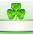 Patricks day card with green clover and paper vector image vector image