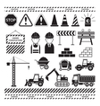 Construction Objects Silhouette Set vector image