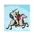 Valkyrie Amazon Warrior Riding Horse vector image